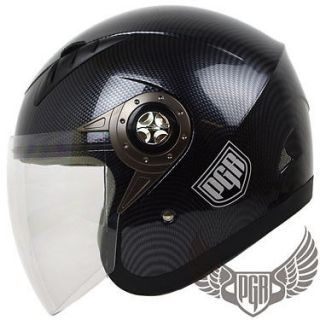 Jet Pilot Carbon Fiber DOT Motorcycle Helmet Scooter Moped Custom Open