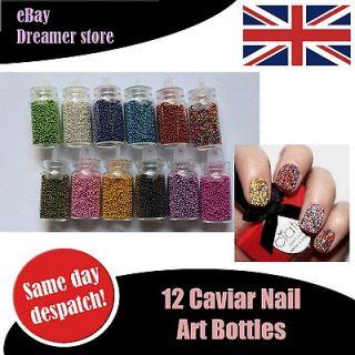 12 Mini Bottles Caviar Nail Art Beads Manicure Black Silver Red Blue