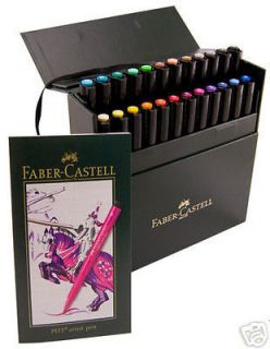 Faber Castell 24 Pitt Artist Pen Markers Brush Tip Pigmented Drawing