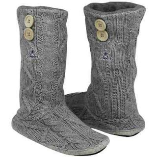 Dallas Cowboys Womens Two Button Cable Knit Boots   Gray   7/8