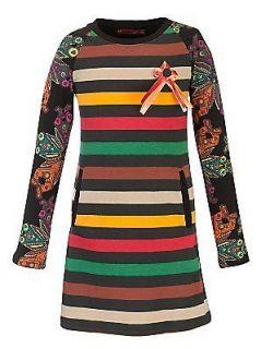 Desigual Yellow Red Green Stripe Button Selva Print Dress NWT Girls