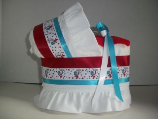 AND 2 BOY GIRL NEUTRAL DIAPER BASSINET BABY SHOWER CENTERPIECE