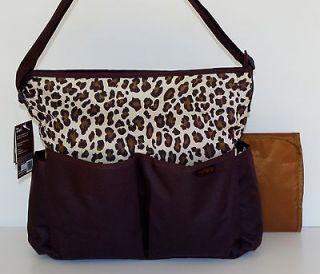 Carters 2 Pc Diaper Bag Set Brown w/Leopard Print Trim