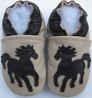 carozoo soft sole leather baby shoes horse cream 12-18m