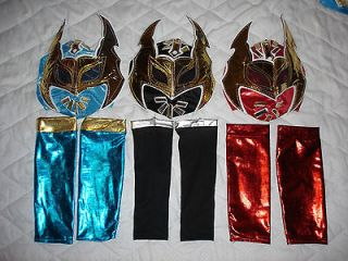 SIN CARA FANCY DRESS UP COSTUME OUTFIT BLUE RED BLACK MASK SLEEVES WWE