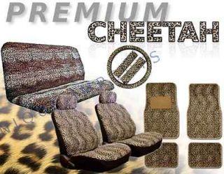 Premium Cheetah 15pc Car Seat Covers Animal Print Pair Bench Floor