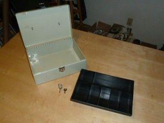 Metal Cash Money Lock Box w/ Insert & 2 Keys
