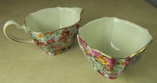 VINTAGE LORD NELSON WARE CHINTZ MARINA SUGAR BOWL & CREAMER MADE in