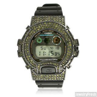 Custom Black Army Green CZ G Shock DW6900 Large Face Watch