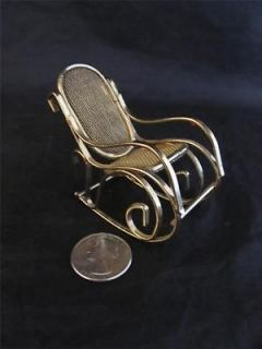 Doll House Furniture Brass Bentwood Rocking Chair Miniature Vtg