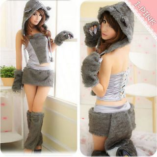 Sexy Cosplay Brown Kitty Cat halloween costumes fancy Party Wear dress