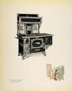 1913 Print Vintage Antique Cast Iron Cook Stove Kitchen   ORIGINAL