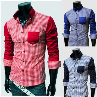 Mens Casual Cotton Slim Fit Stylish Dress Shirts PlaidCheck Tee Tops