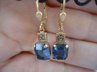 CATHERINE POPESCO Beautiful Midnight Blue Swarovski Crystal earrings 1