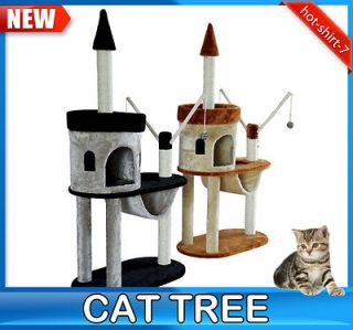 New 2 Color Cat Scratch Tree Condo Post Scratcher Tower With Toys