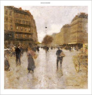 LUIGI LOIR Parisian Street Scene PRINT ON CANVAS
