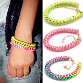 HOT Sale Neon Yellow Pink Gradient color Braided Bracelet Friendship