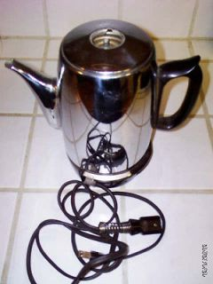 General Electric Coffee Percolator w/ 6 Cord FOR PARTS MISSING PERK