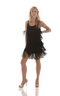 Fringe Flapper Dress. 1920s Charleston. Ladies. Black. New
