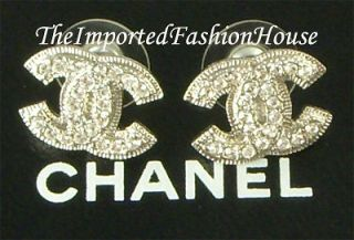 CHANEL CLASSIC LARGE CRYSTAL CC LOGO CHARM SILVER STUD POST EARRINGS