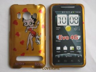 HTC EVO 4G HARD CASE PHONE COVER GOLD BETTY BOOP HEARTS