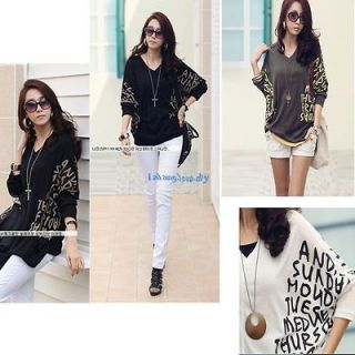 Womens Fashion Batwing Loose Tops Casual Dolman V neck Blouse T Shirt