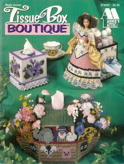 Annies Attic Plastic Canvas TISSUE BOX BOUTIQUE NOAHS ARK doll TEAPOT
