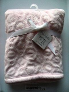 Kyle and & Deena Pink Blue Soft Chamois Circles Baby Blanket 30 x 40