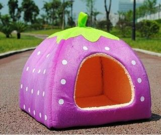 Soft Strawberry Pet Dog Cat Bed House Kennel Doggy Warm Cushion Basket