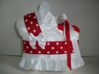 RED WHITE DOT NEUTRAL DIAPER BASSINET CARRIAGE BABY SHOWER CENTERPIECE