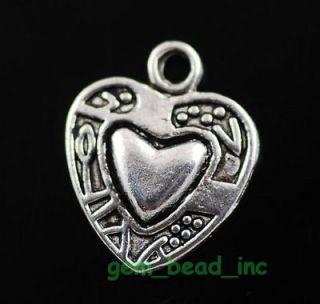 Tibetan Silver Style Heart Charms Pendants Finding 15x12.5mm C222