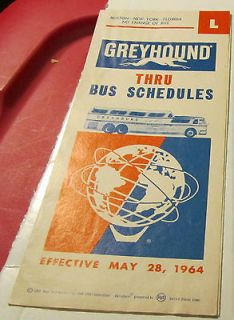 1964 New York Worlds Fair Greyhound Bus Schedule L Timetable Boston