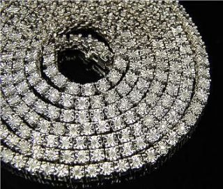 MENS 1 ROW WHITE GOLD FINISH DIAMOND CHAIN NECKLACE