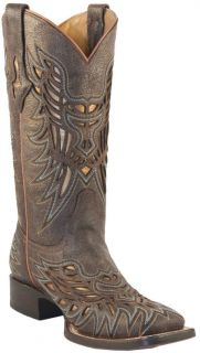 Lucchese Ladies Genuine Calf Cowboy Western Boots Cafe/Gold M3683 All