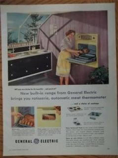 1958 General Electric Built in Range Stove Oven Art Photo Vintage