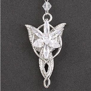 White Gold Plated LORD of Rings LOTR Necklace Pendant Evenstar Jewelry