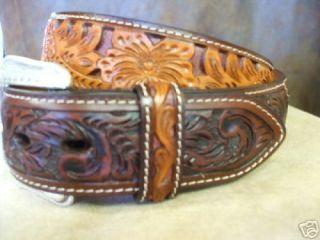 Genuine Leather Western Mens Belt Saddle Tan Brown Floral Deep Cut