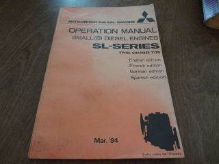 Diesel Engine SL Series Small Engine Swirl Chamber Operators Manual