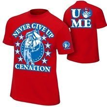 20% OFF CHARITY SALE John Cena XL New Red Never Give Up WWE T Shirt