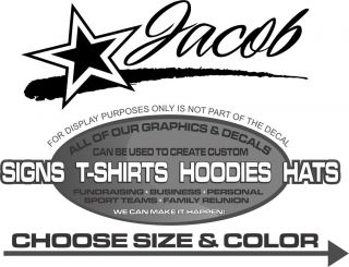 Jacob Name Star Stripe Personalized Sticker Decal 4 Laptop Car Window