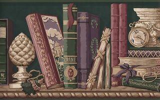 WALLPAPER BORDER BOOKS AND LIBRARY SHELVES
