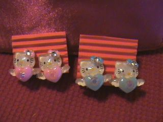 Kids Very Lovely Hello Kitty Valentine Hearts Clip On Earrings