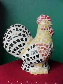 Rooster Figurine Mosiac Art Ceramic Large Colorful 9 1/2 Tall FREE