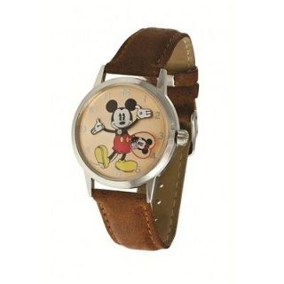 IND26093 DISNEY CLASSIC MICKEY MOUSE GRAPHIC TAN LEATHER WATCH NWT