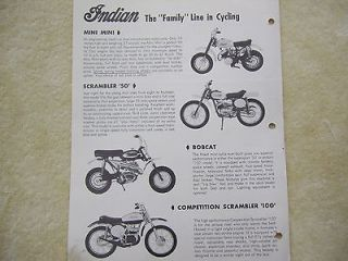 Vintage Indian Motorcycle Mini Bike Brochure 4 Models 50cc 100cc