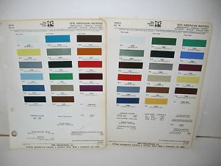 1972 1973 AMERICAN MOTORS PAINT CHIP COLOR CHART PPG DITZLER JAVELIN