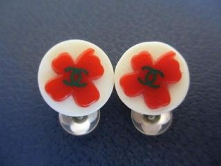 Newly listed Authentic CHANEL (red clover) earrings (16mm) 04P