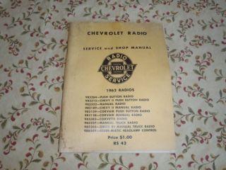1962 CHEVY NOVA IMPALA CORVETTE RADIO DELCO MANUAL GM