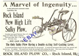 1897 ROCK ISLAND HIGH LIFT SULKY PLOW AD ROCK ISLAND IL
