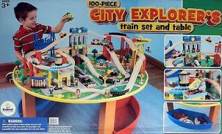 100 Piece City Explorers Train Set Table Storage Bin Deluxe Airport